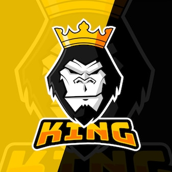 Gorilla king maskottchen esport logo design