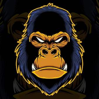 Gorilla kopf maskottchen illustration