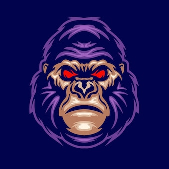 Gorilla kopf maskottchen logo