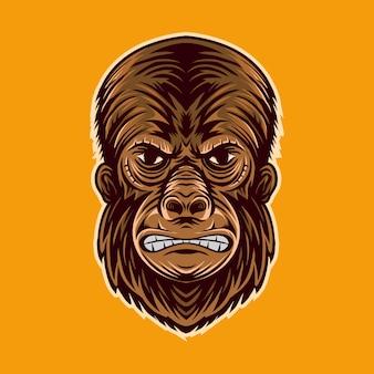 Gorilla kopf wütend gesicht zeichentrickfigur