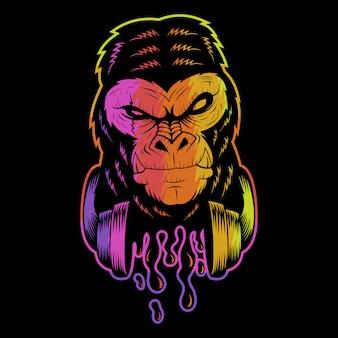 Gorilla kopfhörer bunte illustration