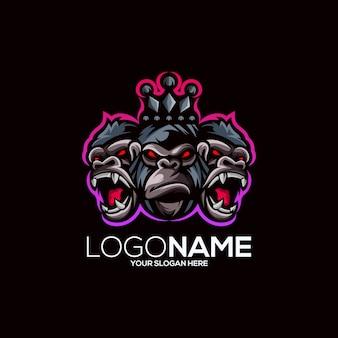 Gorilla logo design isoliert auf schwarz