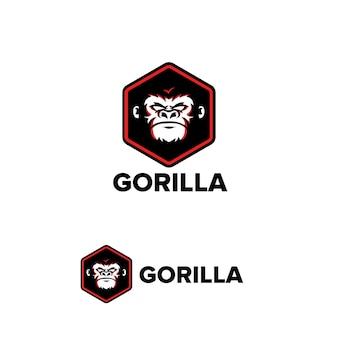 Gorilla-logo-sechseck-unternehmen unternehmensvorlage-maskottchen-zeichen