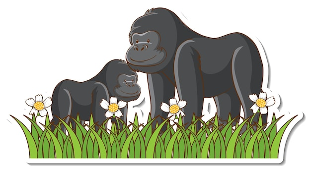 Gorilla mama und baby sticker
