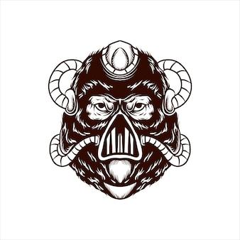 Gorilla-maske wütender logo-vektor
