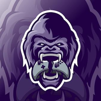 Gorilla maskottchen esport logo