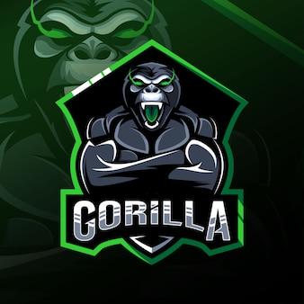 Gorilla maskottchen logo esport