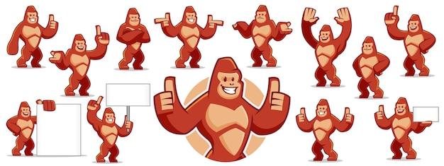 Gorilla-maskottchen-zeichensatz