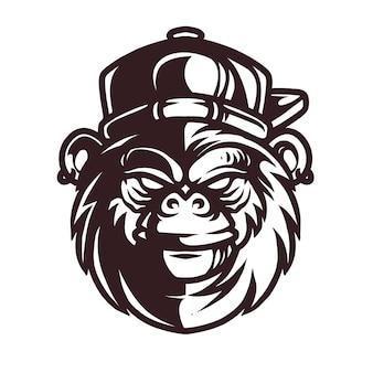 Gorilla mit hut detail strichgrafik illustration