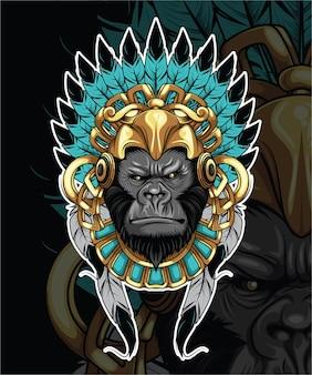 Gorilla mit indischer hutillustration
