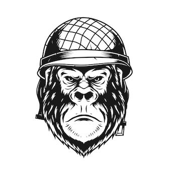 Gorilla mit militärhelm-vektor