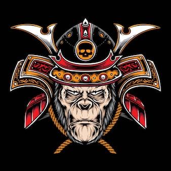 Gorilla mit samurai-helm
