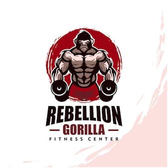 Gorilla mit starkem körper, fitnessclub oder fitnessstudio-logo. gestaltungselement für firmenlogo, etikett, emblem, bekleidung oder andere waren. skalierbare und bearbeitbare illustration