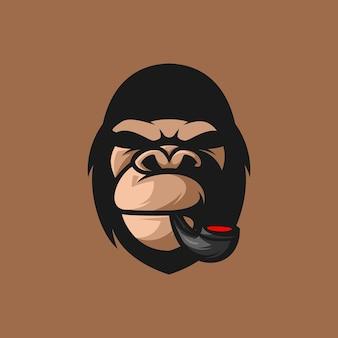 Gorilla smoke mascot illustration design