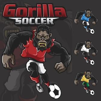 Gorilla soccer scream beast maskottchen sport