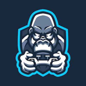 Gorilla spiele und sport joystick logo symbol illustration