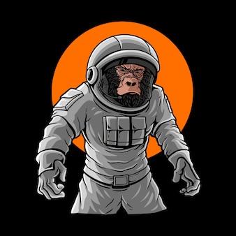Gorilla trägt astronautenkostüm premium-vektor