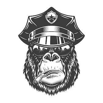 Gorillakopf im monochromen stil