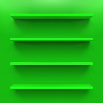 Gorizontale grüne bücherregale an der grünen wand