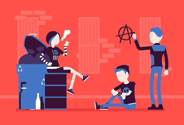 Goten und punks subkultur straßenleben