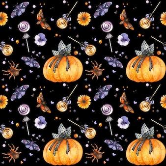 Gothic halloween nahtlose muster mit aquarell kürbis insekten und süßigkeiten spooky hintergrund