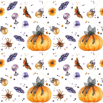 Gothic halloween nahtlose muster mit aquarell kürbis insekten und süßigkeiten