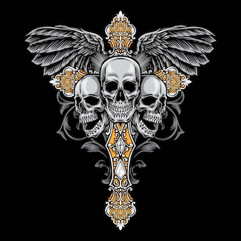 Gotische querillustration des schädels