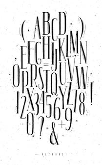 Gotische schriftart des alphabetes