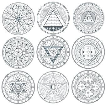 Gotische vektor-tattoo-symbole der mystischen weinlese