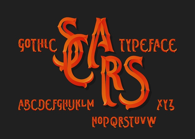 Gotische vektorschriftart gesetzt