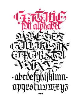 Gotischer alphabetvektor zeitgenössische gotische schwarze kalligraphische buchstaben auf einem weißen hintergrund Premium Vektoren