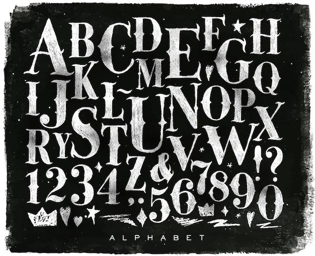 Gotischer guss der weinlese in der retro- artzeichnung mit kreide auf tafelhintergrund