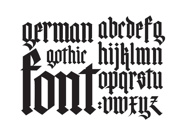 Gotisches, englisches alphabet. schriftart. elemente isoliert auf weißem hintergrund. kalligraphie und schriftzug. mittelalterliche lateinische buchstaben.