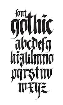 Gotisches englisches alphabet schriftart für persönliche und kommerzielle tätowierungszwecke