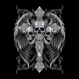 Gotisches kreuz mit flügelillustration