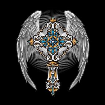 Gotisches kreuz mit flügeln