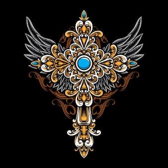 Gotisches kreuz mit ornament
