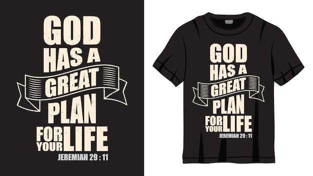Gott hat einen großen plan schriftzug design für t-shirt