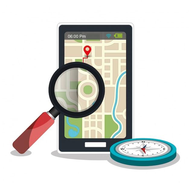Gps-app mit kompass und lupe
