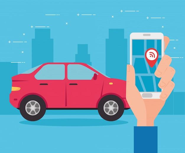 Gps, fahrzeug mit smartphone-navigationsanwendung und rotem punkt auf dem bildschirm