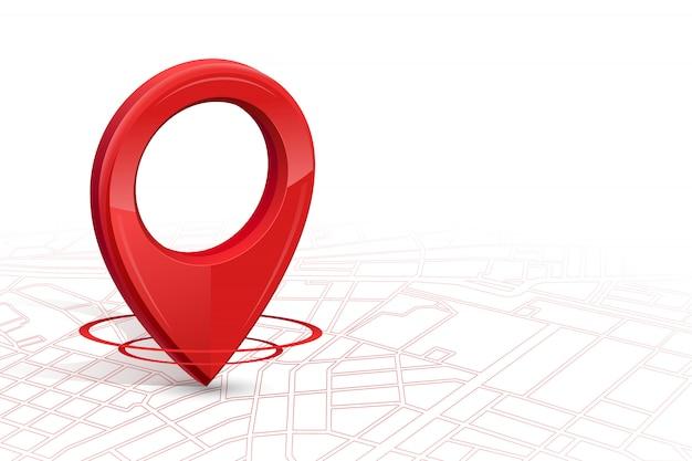 Gps.gps-ikone 3d rote farbe, die auf straßenkarte in whitebackground fällt