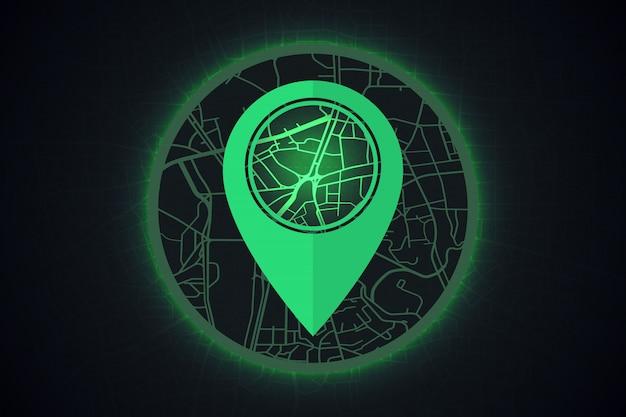 Gps-ikone auf intelligentem stadtkonzept der karte.