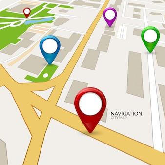 Gps karte stadt. straßenstraßennavigation. gps-pin auf der karte. routenrichtungsabbildung. stadtkartographie