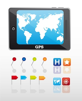 Gps mit stoßstift und ikonen vector illustration
