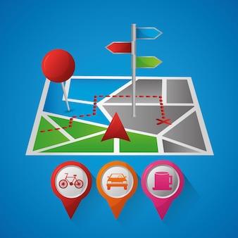 Gps-navigation anwendung ankunft punkt pin karten restaurant benzin