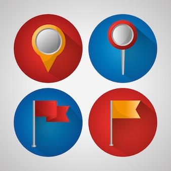 Gps-navigation anwendung banner farbige pin-karten-flags