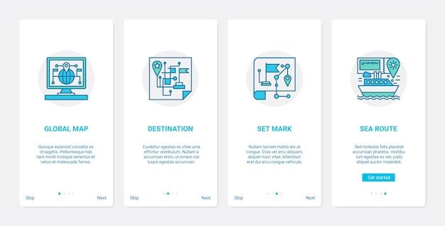 Gps-navigation globale service-linie ux onboarding mobile app seite bildschirm gesetzt