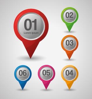 Gps-navigation positionsnummern pin karten farbige richtungen