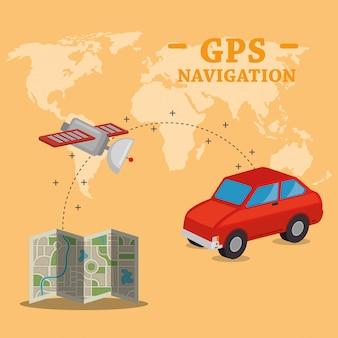 Gps-navigation stellen icons