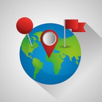 Gps-navigationsanwendung welt pin-karten ziel